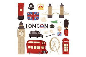 London travel icons english set city