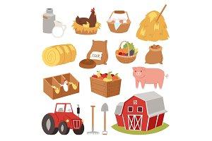 Farm vector tools and symbols house