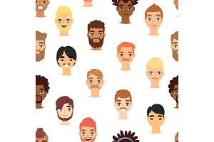 Different beard man head face vector