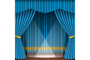 Theater stage scene blue curtains