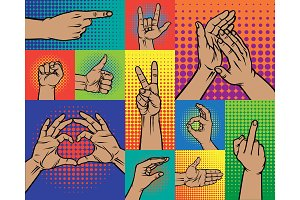 Hand pointing finger pop art arm