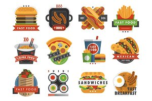Fast food flat label logo emblem