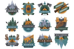 Camping outdoor travel tourism logo