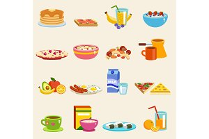 Breakfast food meals vector icons