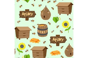 Apiary vector illustrations