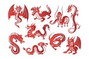 Chinese asia red dragon animal