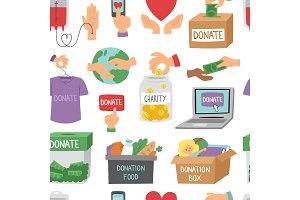 Donate money set outline icons help
