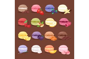 Macarons tasty cake set different