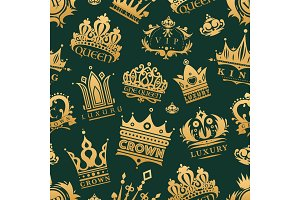 Gold crown king icons set nobility