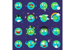Cartoon globe earth emotion face