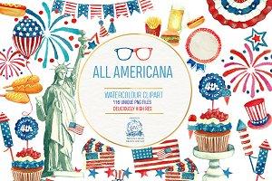 All American: Watercolor Clipart
