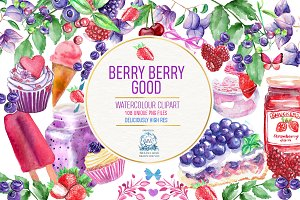 Berries! 140 Watercolor Clipart