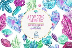 Gemstones: 98 Watercolor Clipart PNG