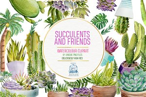 Succulents and Cactii Clipart