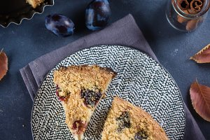 Homemade rustic plum cake