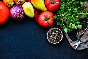 Seasonal organic vegetable concept