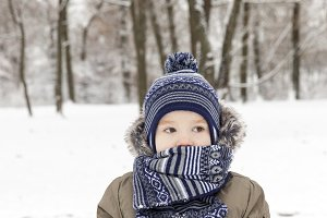 Boy in winter, close up