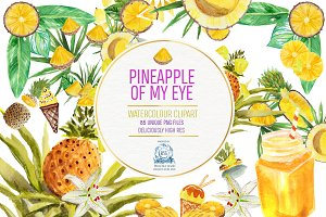 Pineapples! Watercolor Clipart