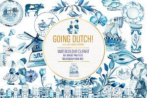 Dutch Delft Watercolor Clipart