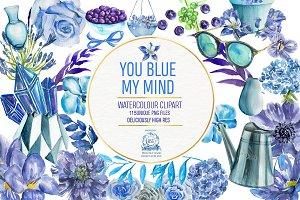 Blue Floral Watercolor Clipart Pack