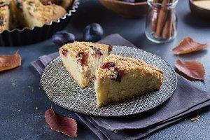 Autumn plum pie