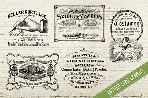 Antique Set of Old Labels