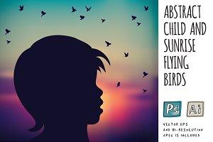 Child and sunrise flying birds