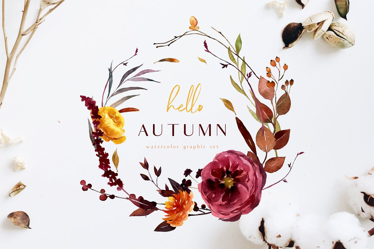 Hello Autumn Watercolor Collection Custom Designed