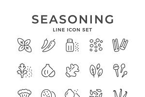 Set line icons of seasoning