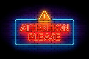 Attention please neon sign