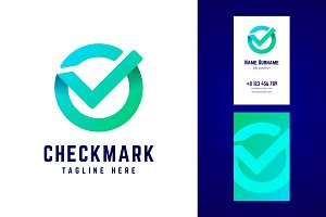 Check mark logo and business card