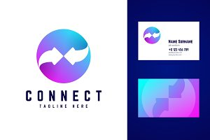 Connect logo and business card