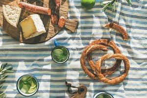 Summer picnic set. Flat-lay of