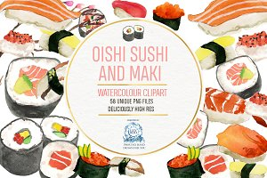 Sushi and Maki Watercolor Clipart