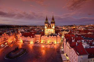 Prague old town square and church of