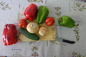 Onions, green and red Peppers and