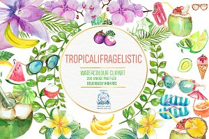 200 Tropical Watercolor Clipart