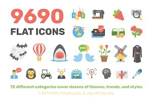 9690 Flat Icons Pack