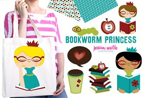 Bookworm Princess Clipart Collection