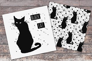 Black Cats Illustrations + patterns