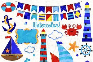 Watercolor Nautical Clipart & Vector