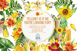 Yellow Floral Watercolor Clipart