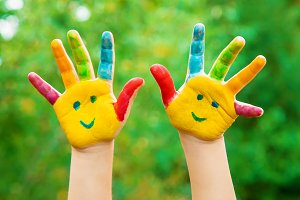 children hands in colors. Summer pho