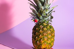 Creative layout made of pineapple on