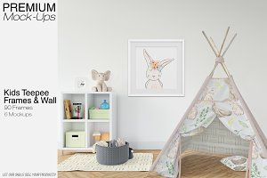 Kids Teepee Tent, Wall & Frames Set