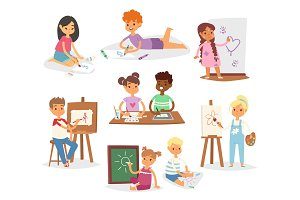Artist vector kids children painting
