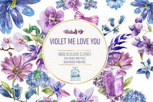 115 Violet Floral Watercolor Clipart