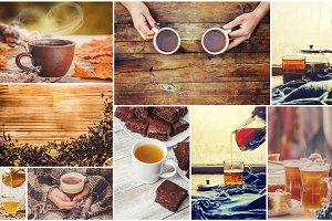 Collage autumn. tea hot drink. Selec