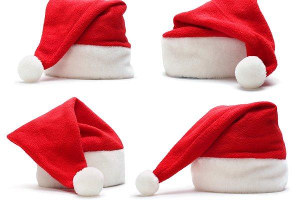 set of red santa claus hat
