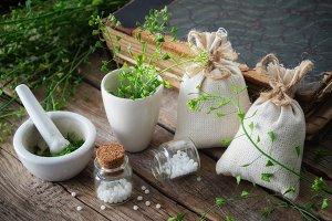 Shepherds purse, homeopathic bottle.
